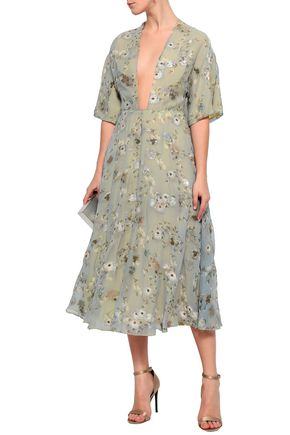 48c9e55f1a9 VALENTINO Fil coupé floral-print georgette midi dress