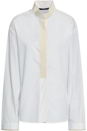HAIDER ACKERMANN Grosgrain-trimmed cotton-poplin shirt