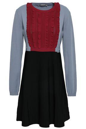 VALENTINO Ruffled color-block stretch-knit mini dress