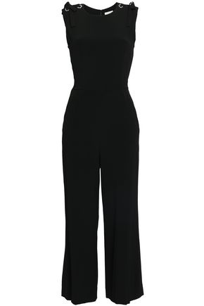 SANDRO Bow-embellished satin-crepe jumpsuit