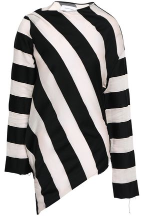 MARQUES' ALMEIDA Striped cotton and silk-blend top