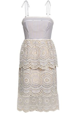 ZIMMERMANN Tiered broderie anglaise striped cotton dress