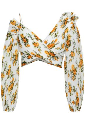 ZIMMERMANN Cropped floral-print plissé-georgette top