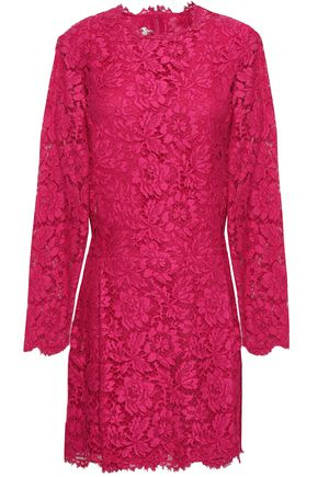 VALENTINO Cotton-blend corded lace mini dress