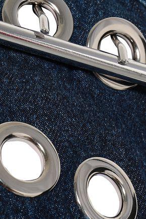 MARQUES' ALMEIDA Embellished one-shoulder frayed denim top
