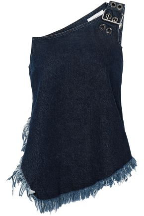 MARQUES' ALMEIDA One-shoulder frayed denim top