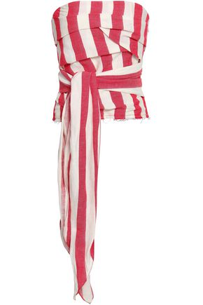 MARQUES' ALMEIDA Strapless striped linen and cotton-blend top