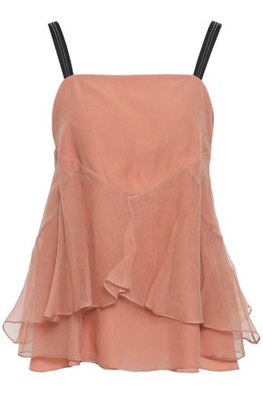 BRUNELLO CUCINELLI Bead-embellished layered silk-organza top