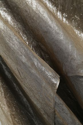 BRUNELLO CUCINELLI Bead-embellished layered metallic silk-organza top