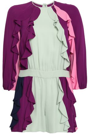 VALENTINO Ruffled silk-crepe playsuit