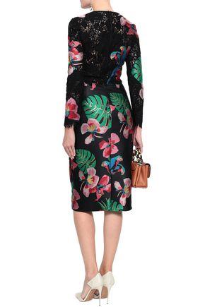 VALENTINO Appliquéd lace midi dress