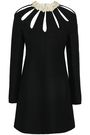 VALENTINO Leather-trimmed cutout wool and silk-blend crepe mini dress