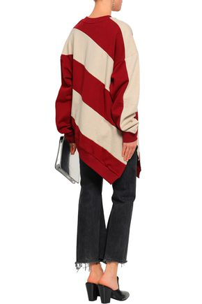 MARQUES' ALMEIDA Asymmetric striped French cotton-terry sweatshirt