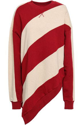 MARQUES' ALMEIDA Asymmetric striped French cotton-terry sweatshirt
