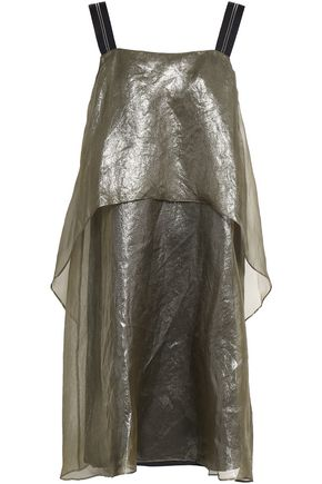 BRUNELLO CUCINELLI Bead-embellished layered coated silk-organza mini dress