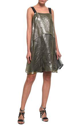 BRUNELLO CUCINELLI Bead-embellished layered coated silk-organza mini dress