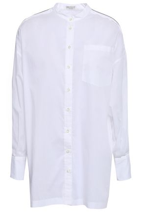 BRUNELLO CUCINELLI Bead-embellished cotton-poplin shirt