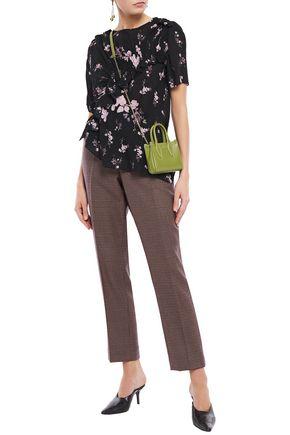 PREEN LINE Yume asymmetric ruched floral-print crepe de chine T-shirt