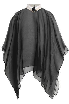 BRUNELLO CUCINELLI Bead-embellished draped silk-organza blouse