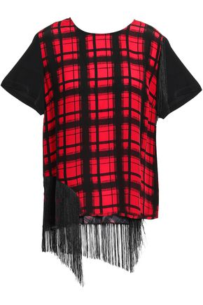 PREEN LINE Suzy fringe-trimmed paneled checked crepe de chine T-shirt