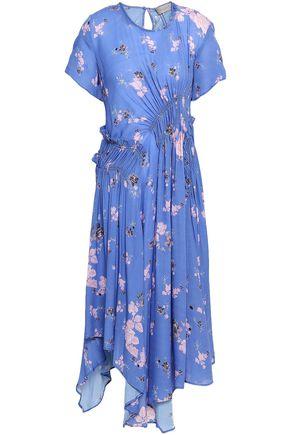 PREEN LINE Lois ruched floral-print crepe de chine midi dress