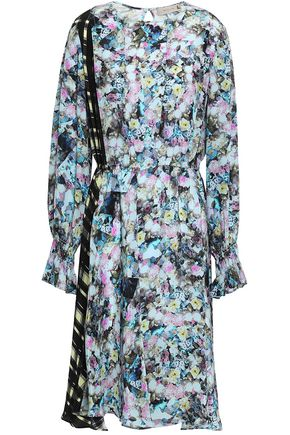 PREEN LINE Kara paneled printed crepe de chine midi dress
