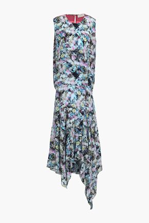 PREEN LINE Flora asymmetric printed crepe de chine midi dress