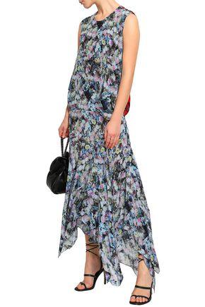 PREEN LINE Flora asymmetric printed crepe de chine midi dress