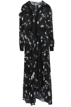 PREEN LINE Sana asymmetric floral-print georgette maxi dress