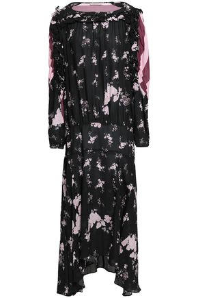 PREEN LINE Sora floral-print and striped chrepe de chine midi dress