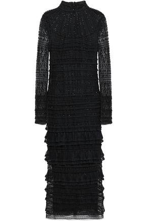 VALENTINO GARAVANI Tiered embellished silk-tulle and lace midi dress