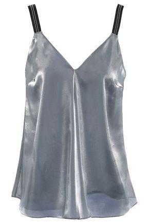 BRUNELLO CUCINELLI Bead-embellished metallic organza camisole