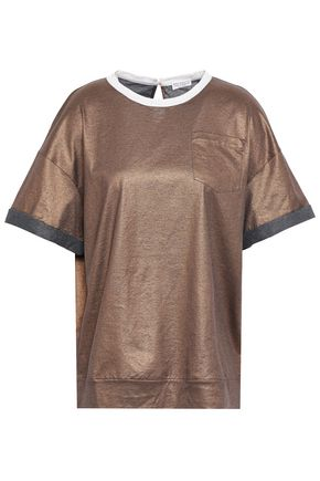 BRUNELLO CUCINELLI Bead-embellished coated jersey T-shirt