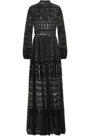 VALENTINO Pleated embellished wool and silk-blend and tulle gown