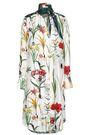 OSCAR DE LA RENTA Knotted printed silk-twill dress