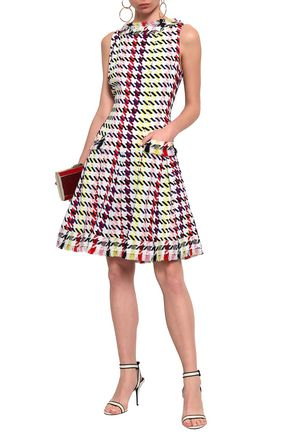 OSCAR DE LA RENTA Flared houndstooth stretch-silk dress
