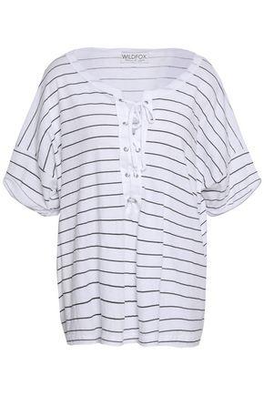 WILDFOX Lace-up striped cotton-jersey T-shirt