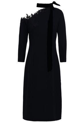 OSCAR DE LA RENTA Appliquéd tulle-paneled wool-blend crepe dress