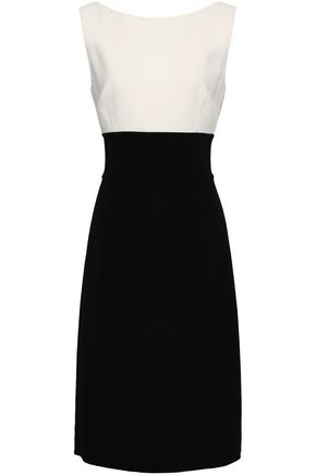 OSCAR DE LA RENTA Twisted two-tone wool-blend crepe dress