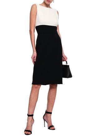 OSCAR DE LA RENTA Twisted two-tone wool-blend crepe dress