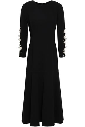 OSCAR DE LA RENTA Faux pearl-embellished wool-blend midi dress