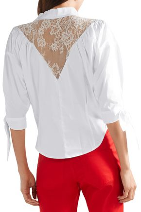 OPENING CEREMONY Lace-paneled cotton-blend poplin shirt