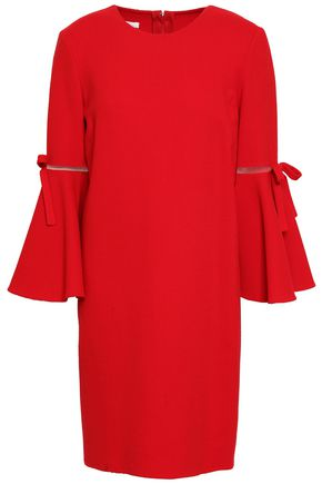 OSCAR DE LA RENTA Bow-embellished tulle-trimmed wool-blend crepe mini dress