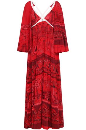 VALENTINO Printed silk crepe de chine maxi dress