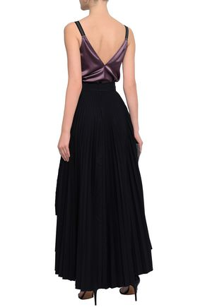 BRUNELLO CUCINELLI Bead-embellished stretch-silk satin camisole