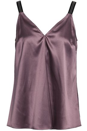 BRUNELLO CUCINELLI Bead-embellished stretch-silk satin camisole