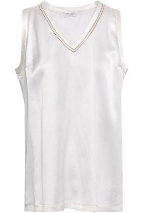 BRUNELLO CUCINELLI Bead-embellished stretch-silk satin tank