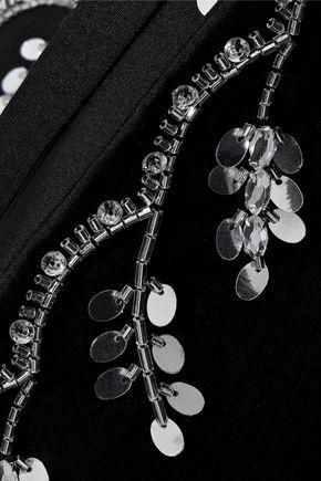 OSCAR DE LA RENTA Sequin-embellished stretch-cotton poplin tunic