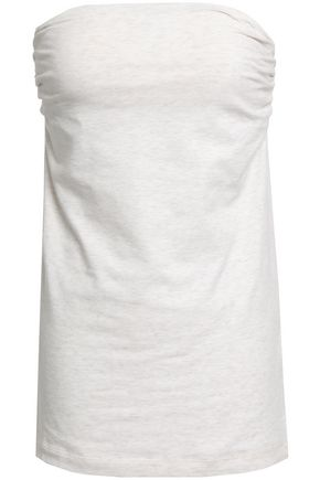 BRUNELLO CUCINELLI Strapless ruched stretch-cotton top