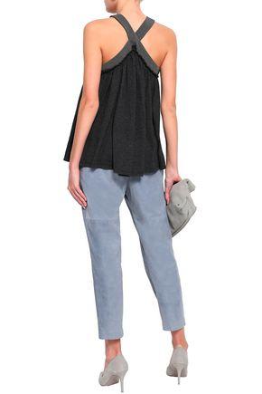 BRUNELLO CUCINELLI Bead-embellished cashmere and silk-blend halterneck top